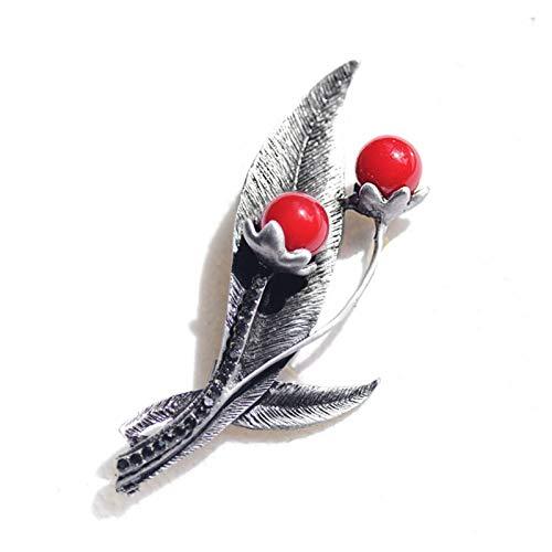 QYTSTORE Piedra roja Vintage Flor y Hoja Broche, Tamaño: 6.5 * 6 cm, Pin de Ropa de Ramo, Broche de Metal Antiguo y Pin de Mujer Broche Elegante y romántico (Color : BB062290)