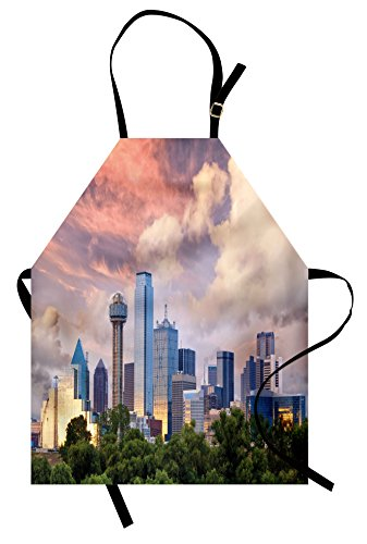 Ambesonne United States Apron, Dallas City Skyline at Sunset Clouds Texas Highrise Skyscrapers Landmark, Unisex Kitchen Bib Apron with Adjustable Neck for Cooking Baking Gardening, Multicolor