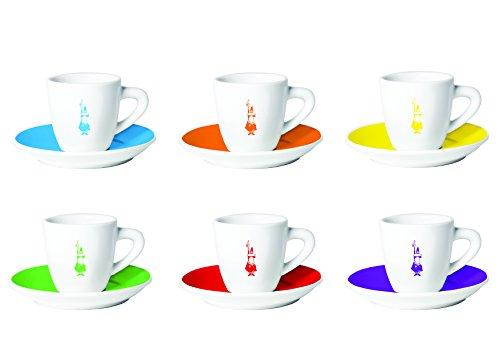 Bialetti Y0TZ017 6 Espressotassen mit Untertasse, Porzellan, bunt, 23.8 x 17.4 x 8.4 cm, 12-Einheiten