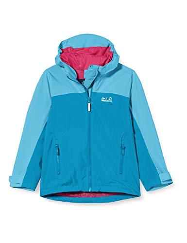Jack Wolfskin Mädchen SAANA Jacket Girls Atmungsaktive Kinder Regenjacke, Blue Reef, 128