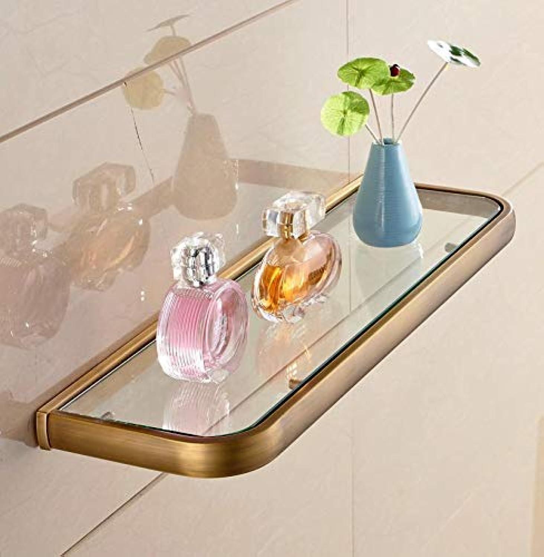 LUDSUY Bathroom Vanity Dresser Antique Copper Complex Gula Si Single Square Glass Shelf Storage Rack 50Cm
