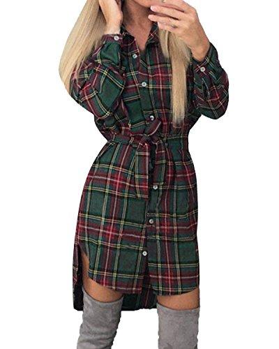 Style Dome Camicia Donna Maglie Donna Manica Lunga Camicia a Quadri Vestito Bluse Camicie Blusa Scollo V Casuale Taglie Forti Giacca Donna Elegante con Cintura Verde L