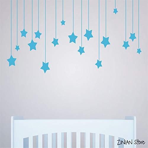 yiyiyaya Wandaufkleber Für Kinderzimmer White Star Baby Kindergarten Wandtattoos DIY Vinyl Wandkunst Wohnkultur Wandbild schwarz 56x125 cm