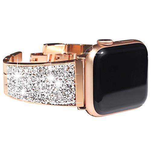 KADES RVS Band Compatibel voor Apple Horloge 40mm/44mm, Vrouwen Link Armband Compatibel voor iWatch 38mm/42mm met Swarovski kristallen, Zwart, 42mm/44mm, Rosegoud