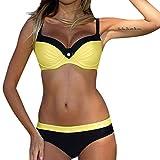 HULKY Beachwear da Donna Vendita Imbottito Push-Up Reggiseno Bikini Set Premium Due Pezzi Costume da Bagno Costumi da Bagno(Giallo,XX-Large)