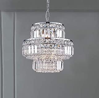 Bestier Modern Pendant Crystal Raindrop Chandelier Lighting LED Ceiling Light Fixture Lamp for Dining Room Bathroom Bedroom Livingroom G9 LED Bulbs Required Diameter 13 inch Height 12 in