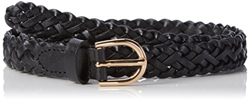 Pieces Damen PCAVERY LEATHER BRAIDED SLIM BELT NOOS Gürtel, Schwarz (Black Black), 80 cm