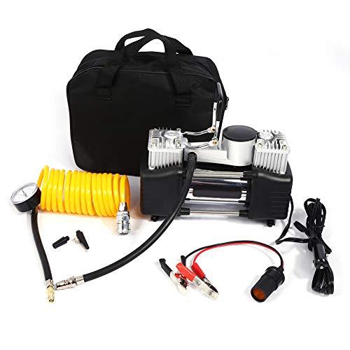 Zerone elektrische luchtcompressor, draagbaar, dubbele luchtpomp, 12 V, compressor voor het oppompen van banden met 4 mondstukken, voor limousine, auto, vrachtwagen, fiets