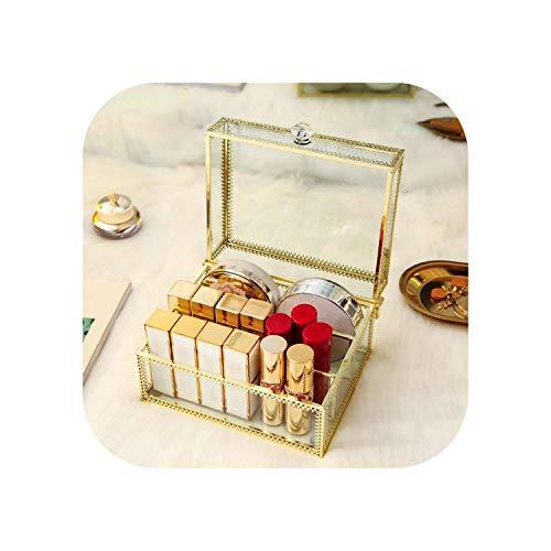 Dream-catching Dresses Kosmetiktasche |Staubdichter Make-up-Organizer Glas Lidschatten Pulver Aufbewahrungsbox Kommode Lippenstifthalter Kosmetischer Displayständer Make-up Organizer-3 Grids-
