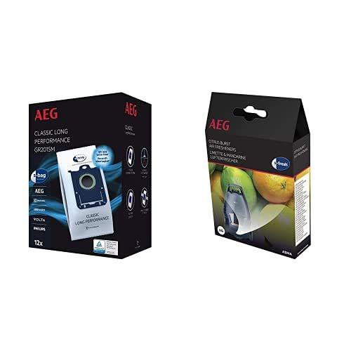 AEG GR201SM Mega Plack Bolsa S-Bag Classic Long Performance, Papel, Sintético, Azul, Blanco + AS MA Ambientadora para aspiradoras, Blanco