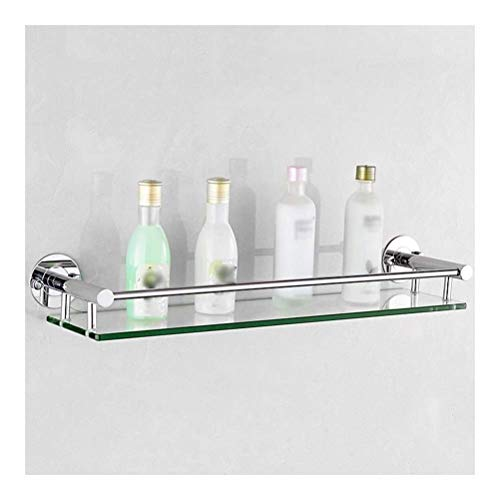 LYMUP Toallero Templado Estante de Vidrio 17~25 Estantes Baño Pulgadas con 8 mm de Espesor de Cristal de Montaje en Pared Rectangular Pulido Soporte de Ducha Acabado (Size : 54cm)