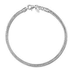 Amberta Echt 925 Sterling Silber Bettelarmband - 3 mm Schlangenarmband für Damen - Silberarmband für Charms - Größe 20 cm