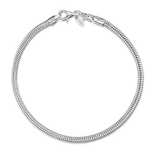 Amberta Bracciale Componibile per Ciondoli in Argento Sterling 925 - Braccialetto Maglia Serpente 3 mm per Charms per Donna - Misura 19 cm