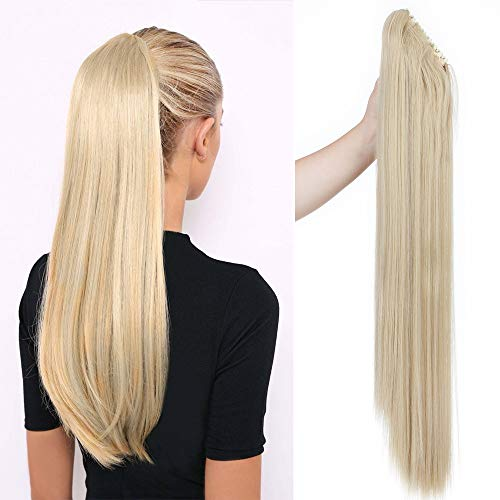 Ponytail Extension Pferdeschwanz Haarteil Haarverlängerung Zopf mit Butterfly-Klammer Hair Piece Haar Glatt Hitzebeständig wie Echthaar Aschblond Mix Bleichblond-1 Glatt-26