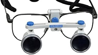 Dental Surgical Loupes, 2.5X, 420mm Working Distance, Alloy Frame