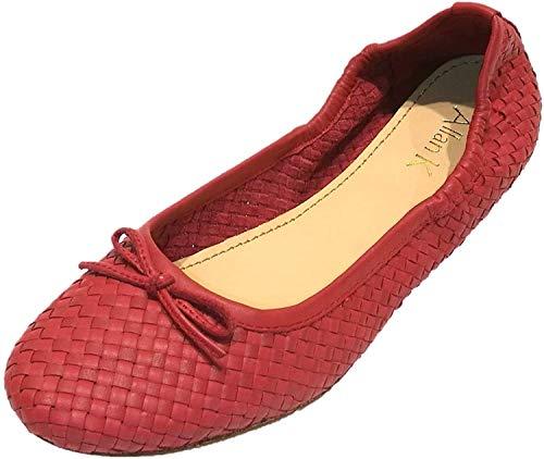 Allan K Capri Flecht-Leder-Schuhe Geschlossene Ballerinas: Größe: 40 EU   Farbe: Cardinal