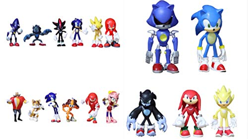 Conjunto figuras Sonic 17 piezas/lote sombra humana nudillo pin chi rose cola figura juguete de regalo de navidad