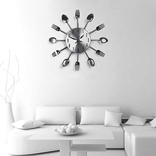 GaoLL Reloj de Pared Decorativo Creativo para Cocina Comedor, Reloj de Cuarzo de Metal Moderno de 18 Pulgadas Cuchara Tenedor Decoraciones para el hogar