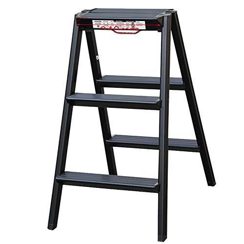 LJSJT 3-Step Stool Ladder Double Sided Step Ladder Folding A-type Household Aluminum Load-bearing 150kg (Color : Black)
