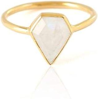 espere Diamond Shaped Bezel Set White Chalcedony Ring Size 6, 7, 8