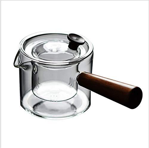 Glazen theepot, Houten handvat, Mini Thee- en koffiemachine, Glazen theepot met Glazen Liner Filter, voor thuis en op kantoor (400ML)