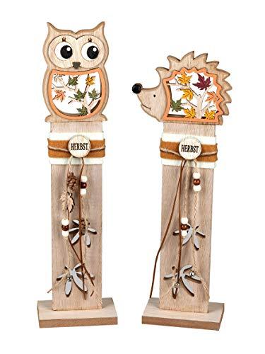 formano Eule und Igel auf Holzpfahl 38 cm Dekofigur 2er Set auf Holz Ständer Herbst Deko