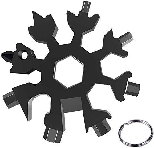 ZIMAIC Geschenke für Männer Schlüsselanhänger - 18-in-1 Schneeflocken Multi-Tool, Gadgets für Männer, Feiertagsgeschenk, Coole Werkzeug Kleine Geschenke für Männer, Papa, Mann, Frauen (Black)
