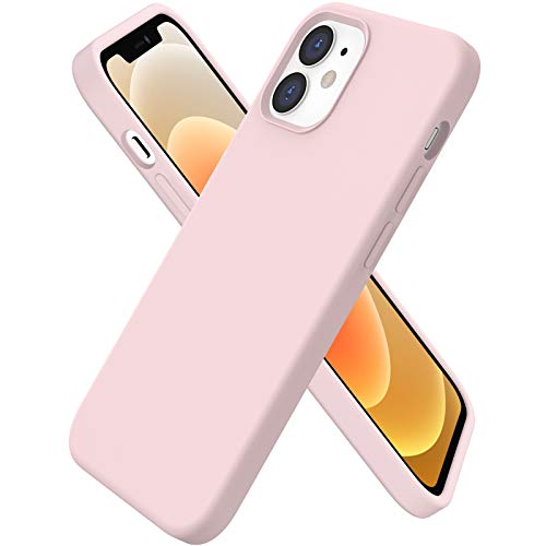 ORNARTO Funda Silicone Case Compatible con iPhone 12 6,1', iPhone 12 Pro Protección de Cuerpo Completo,Carcasa de Silicona Líquida Suave Case para iPhone 12/12 Pro (2020) 6,1 Rosa