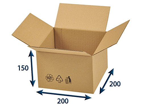 25 x Versandkartons (Faltschachteln, Faltkarton, Wellpappkarton, Wellpappfaltkarton, Kartons), 3-Sicht, 200x200x150mm