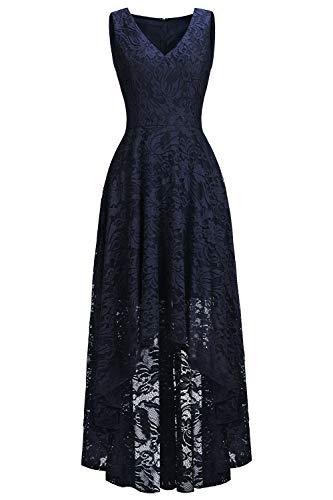 Babyonlinedress® 2019 Damen Elegant Kleider Spitzenkleid Ohne Arm Cocktailkleid Vorne Kurz Hinten Lang Brautkleid Navyblau 36