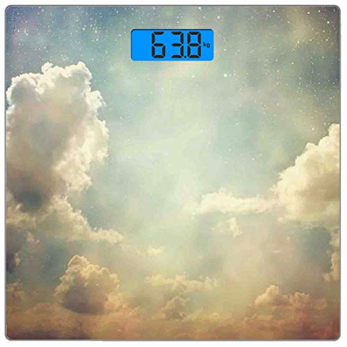 Digitale Präzisionswaage für das Körpergewicht Platz Jahrgang Ultra dünne ausgeglichenes Glas-Badezimmerwaage-genaue Gewichts-Maße,Magischer Himmel sieht wie Traumraum mit himmlischem Wunder-Atmosphär