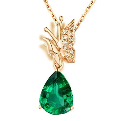 AmDxD 18K Yellow Gold Necklace, 0.7CT Butterfly Emerald with Diamond...