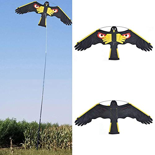 Birds Scarer Hawk Flying Kite,Garden Bird Repellent Eagle Kite, Simulated Hawk Flash Reflective Device Professional Pigeon Scarer for Outdoor Garden Farm