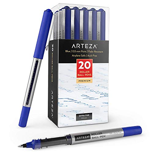 ARTEZA Penne Gel, Confezione da 20 Penne Blu a Prova di Acqua, Penna a Sfera con Punta Fine da 0,5 mm per Journaling, Scrittura, Appunti e Schizzi Artistici e Tecnici