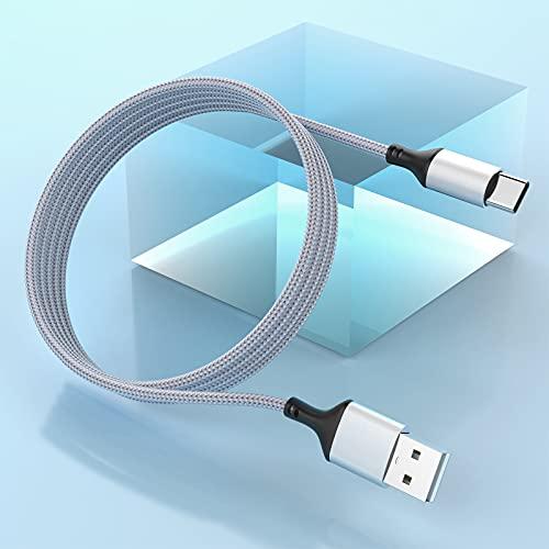Cable USB tipo C extra largo de 5m/16ft, cable cargador de USB A a USB C de carga rápida trenzado de nailon, compatible con Samsung Galaxy S10+/S9/S9+/S8/S8+, Google Pixel y otros dispositivos USB-C