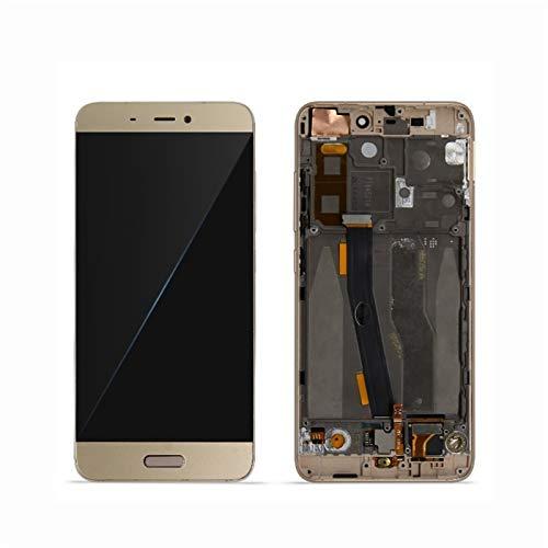 Pantallas LCD para teléfonos móviles 5.15'Piezas de Repuesto digitalizador de Pantalla LCD y Pantalla táctil para Xiaomi MI 5 MI5 Pantalla con Marco + Huella Digital (Color : Gold with Frame)