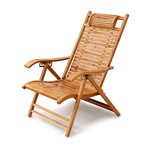 HKX Chaise Longue Bamboo Chair Klapstoel Zero Gravity met hoofdsteun en armleuningen Lounge Verstelstoel 5-Gear