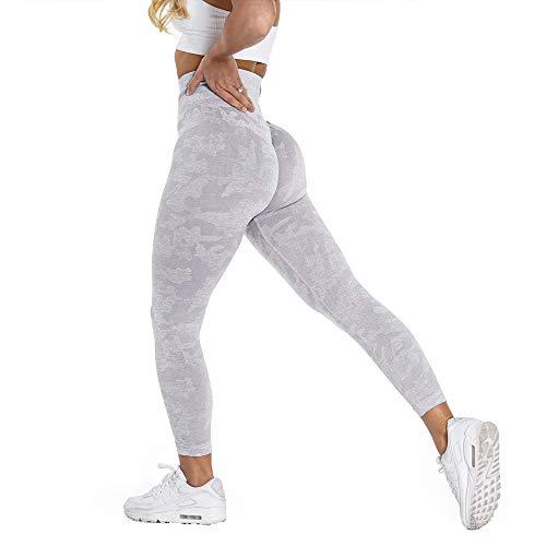 YVYVLOLO Women High Waist Workout Gym Butt Lift Seamless Leggings Yoga Pants Tights(Y326-Camo Gray-L)