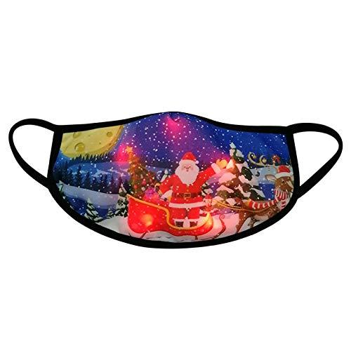Máscara de Navidad para adultos, con luces LED, transpirable, resistente al polvo, para hombres y mujeres