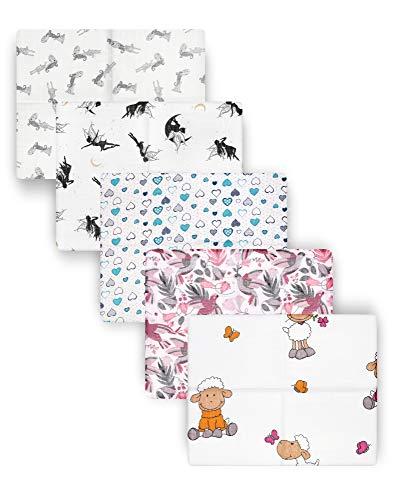Be Mammy Baby Windelsets Stoffwindeln Mulltücher 80x80 cm 5er Pack BESD001 (Mädchen1 (5 Pack), 80x80)