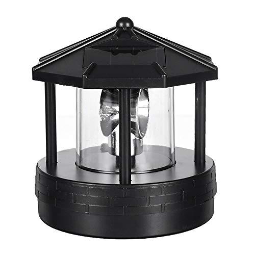 Monkys Solarbetriebener Leuchtturm, Solarlicht Leuchtturm Form Tisch Desktop Rotationslicht Kunststoff LED-Licht Gartenleuchte im Freien