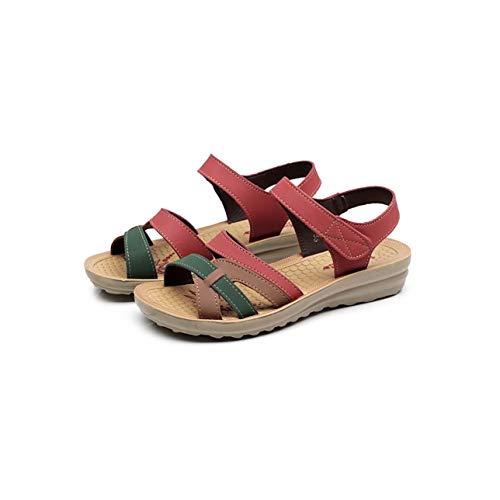 Summer Women Sandals Bohemian Flat Sandals Women Shoes Open Toe Mothers Shoes Soft Ladies Sandals Casual Shoes Sandalias Size 41 Red 7
