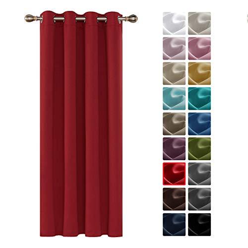 Deconovo Tenda Oscurante Termica Isolante con Occhielli Tenda Camera da Letto per Interni 140x260 CM Rosso Brillante