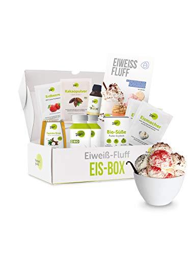 Pumperlgsund Eis Fluff Starter-Box (Schoko, Vanille, Erdbeer, für ca. 20 Kugeln)