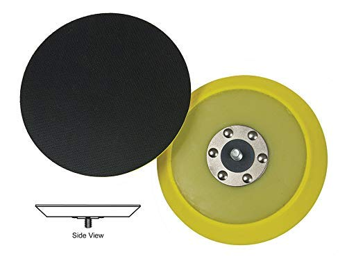 Lake Country Dual-Action Backing Plate, Flexible Plate with Hook-and-Loop Fastener, 5 Inch, Black and Yellow with Inner Steel Construction