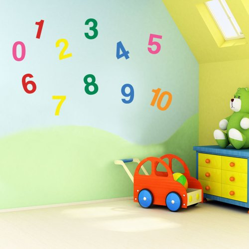 Vinyl Concept - Children's Wall Stickers, Nursery Numbers, 1 To 10 Wall , Kids Removable, Easy To Remove, Kids Wall Stickers, Art Mural, Art Decor, Sticker Diy Deco : Mixed As Pictured -- Small by Vinyl Concept