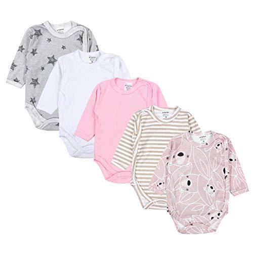 TupTam Body para Bebé de Manga Larga, Pack de 5, Blanco, 2-4 Meses(62cm)