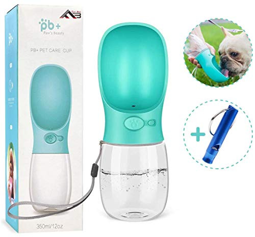 Flybiz Botella de Agua para Perro, 350ml Antibacteriano Botella Portátil de Agua Potable para Perros y Gatos al Aire Libre, a Prueba de...