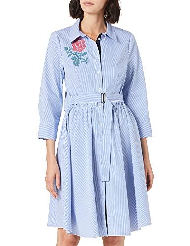 APART Fashion Kleid Vestido, Blanco-Azul, Talla única para Mujer