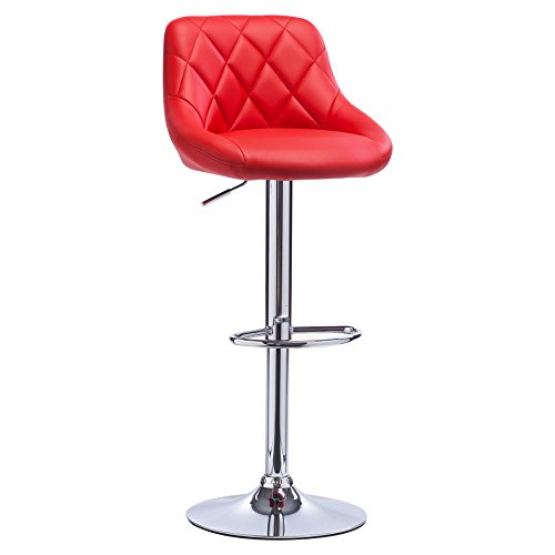 WOLTU Bar Stool Red Bar Chair Breakfast Dining Stool Chair for Kitchen Island Counter Leatherette Exterior, Adjustable Swivel Gas Lift, Steel Footrest & Base